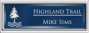 Framed Name Tag: Silver Plastic (squared corners) - Patriot Blue and White Plastic Insert with Epoxy
