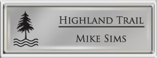 Framed Name Tag: Silver Plastic (squared corners) - Smooth Silver and Black Plastic Insert with Epoxy