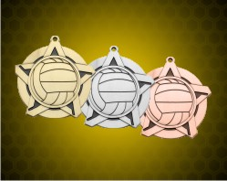 2 1/4 inch Volleyball Super Star Medals