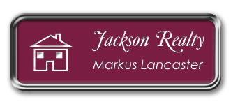 Silver Metal Framed Nametag with Claret and White