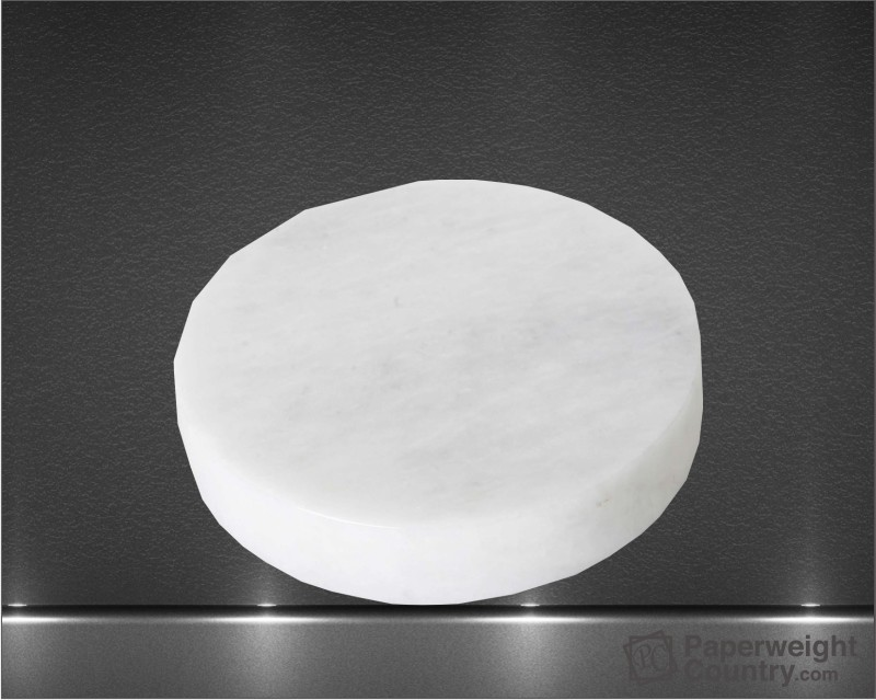 3/4 x 3 1/2 Inch White Round Marble Paperweight