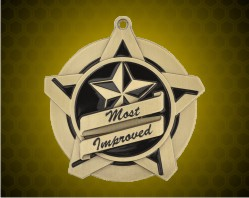 2 1/4 inch Gold Most Improved Super Star Medal