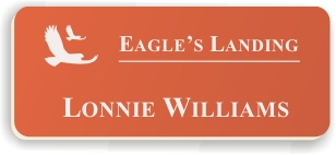 Smooth Plastic Name Tag: Tangerine with White - LM922-612