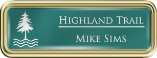 Framed Name Tag: Gold Plastic (rounded corners) - Celadon Green and White Plastic Insert with Epoxy