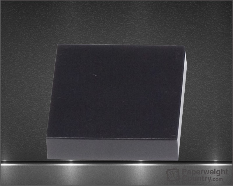 3/4 x 3 x 3 Inch Black Marble Shortened Cube Paperweight