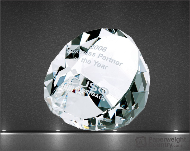1 7/8 x 3 1/4 x 3 Inch Duet Optic Crystal Paperweight