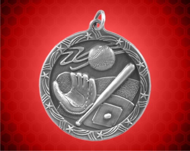 1 3/4 inch Silver Baseball Shooting Star Medal