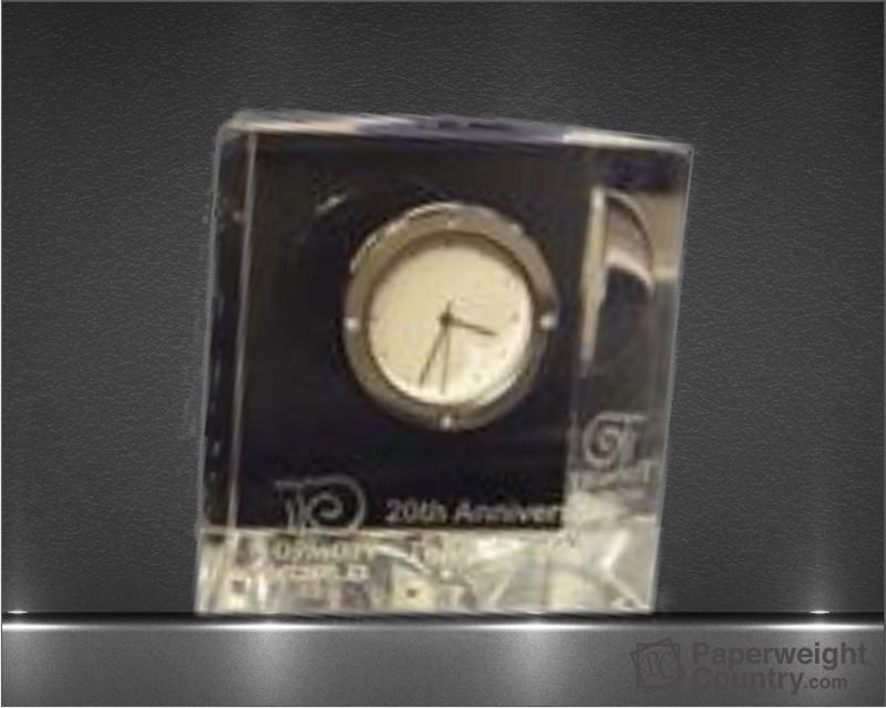 3 x 3 1/8 x 1 3/8 Inch Slanted Optic Crystal Block Clock Paperweight