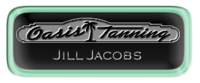Metal Name Tag: Black and Silver with Epoxy and Shiny Green Metal Border