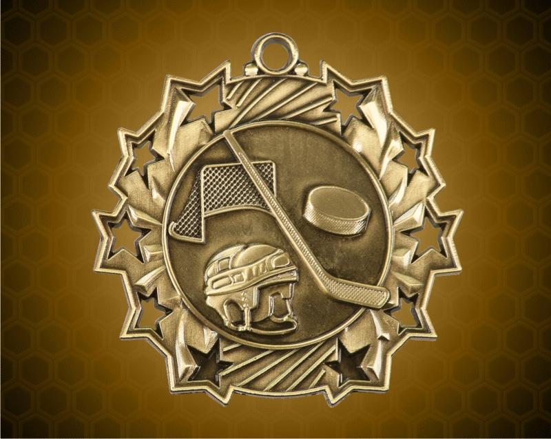 2 1/4 Inch Gold Hockey Ten Star Medals