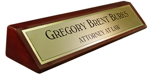 Rosewood Piano Finish Desk Plate -  Metal Brushed Gold Name Plate with a Shiny Gold Border