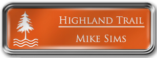 Framed Name Tag: Silver Metal (rounded corners) - Tangerine and White Plastic Insert with Epoxy
