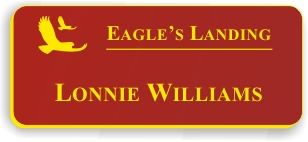 Smooth Plastic Name Tag: Red with Yellow - LM922-607