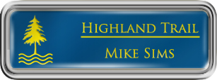 Framed Name Tag: Silver Plastic (rounded corners) - Sky Blue and Yellow Plastic Insert with Epoxy