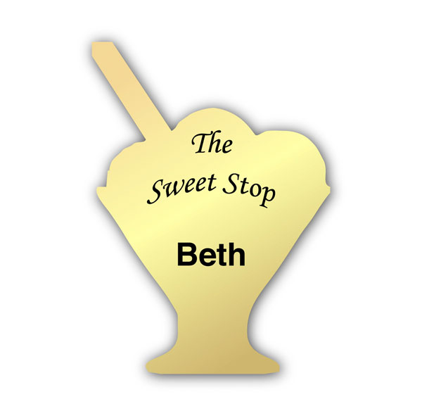 Smooth Plastic Dessert 2 Shape Name Tag - 2.6 x 1.9 inches
