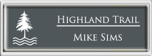 Framed Name Tag: Silver Plastic (squared corners) - Smoke Grey and White Plastic Insert