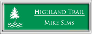 Framed Name Tag: Silver Plastic (squared corners) - Kelley Green and White Plastic Insert