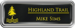 Framed Name Tag: Silver Plastic (rounded corners) - Black and Yellow Plastic Insert with Epoxy
