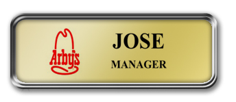 Silver Metal Framed Nametag with Shiny Gold Metal Insert