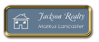 Gold Metal Framed Nametag with China Blue and White