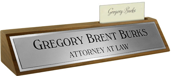 Brushed Silver Metal Plate, Shiny Silver Border on a Walnut Deskplate with Card Slot