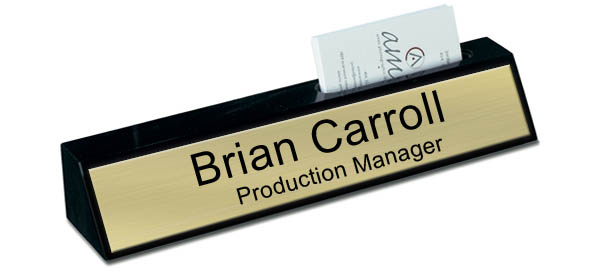 Black Marble Desk Name Plate with Card Holder - Brushed Gold Plate