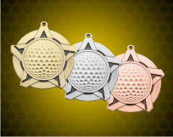 2 1/4 inch Golf Super Star Medals