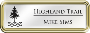 Framed Name Tag: Gold Plastic (rounded corners) - White and Black Plastic Insert with Epoxy