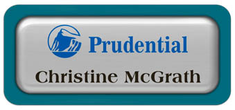 Metal Name Tag: Shiny Silver Metal Name Tag with a Bahama Blue Plastic Border and Epoxy