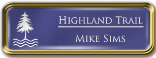 Framed Name Tag: Gold Metal (rounded corners) - Purple and White Plastic Insert with Epoxy