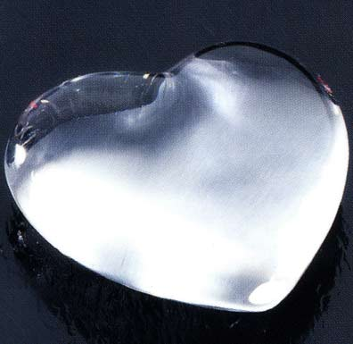 3 x 3 x 1 Inch Clear Heart  Molten Glass Paperweight
