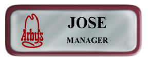 Metal Name Tag: Shiny Silver with Burgundy Metal Border