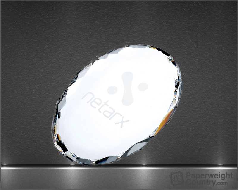 3/4 x 4 x 2 3/4 Inch Oval Optic Crystal Paperweight