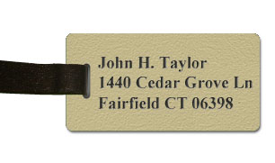 Textured Plastic Luggage Tag: Desert Sand with Black - 822-854