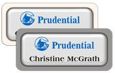 White Metal Name Tags with Plastic Borders and Epoxy