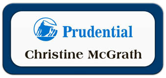 Metal Name Tag: White Metal Name Tag with a Marine Blue Plastic Border
