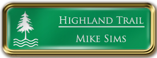 Framed Name Tag: Gold Metal (rounded corners) - Kelley Green and White Plastic Insert with Epoxy