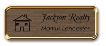 Framed Name Tag: Rose Gold Metal (rounded corners) - Deep Bronze and Black Plastic Insert with Epoxy