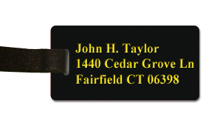 Smooth Plastic Luggage Tag: Black with Yellow - LM922-407