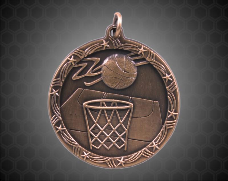 1 3/4 inch Bronze Basketball Shooting Star Medal