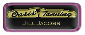 Metal Name Tag: Black and Gold with Epoxy and Shiny Purple Metal Border
