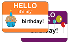 Hello My Name Is Birthday Stickers