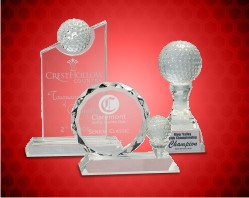 Crystal Golf Awards on Clear Pedestal Base