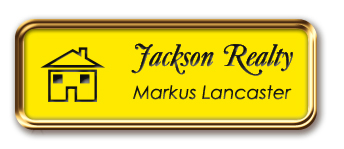 Rose Gold Metal Framed Nametag with Canary Yellow and Black