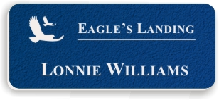 Textured Plastic Nametag: Royal Blue with White - 822-592