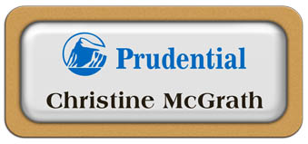 Metal Name Tag: White Metal Name Tag with a Gold Plastic Border and Epoxy