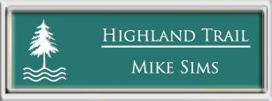 Framed Name Tag: Silver Plastic (squared corners) - Celadon Green and White Plastic Insert