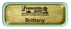 Metal Name Tag: Brushed Gold with Epoxy and Shiny Green Metal Border