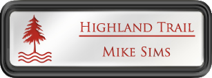 Framed Name Tag: Black Plastic (rounded corners) - White and Crimson Plastic Insert with Epoxy