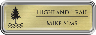Framed Name Tag: Silver Plastic (rounded corners) - Euro Gold and Black Plastic Insert with Epoxy